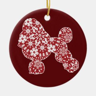 Poodle, Boho Christmas Snowflakes Round Ceramic Decoration