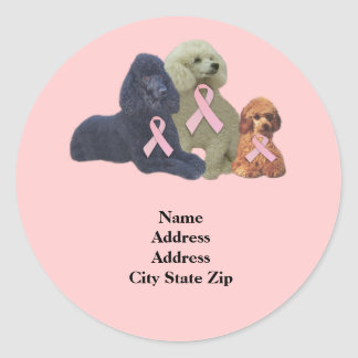 Poodle  Breast Cancer Address Label Stickers