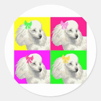 Poodle Bright Collage1 Round Sticker