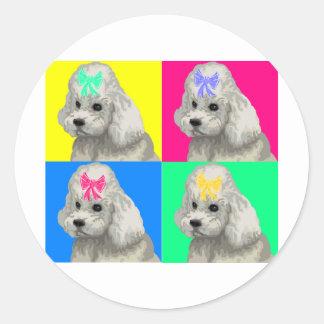 Poodle Bright Collage 2 Round Sticker