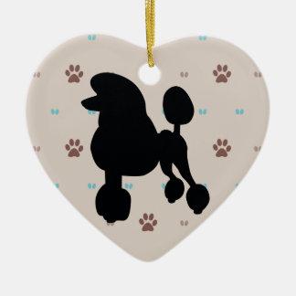 Poodle Ceramic Heart Decoration