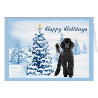Poodle  Christmas Card Blue Tree