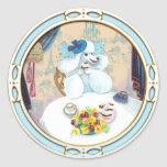 Poodle Cupcake Tea Party Round Sticker