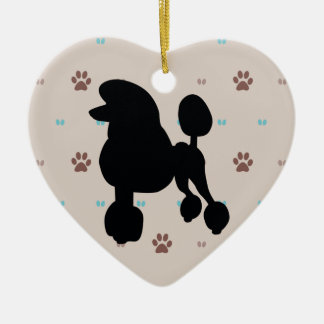 Poodle Double-Sided Heart Ceramic Christmas Ornament