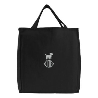 Poodle Dog Graphic with Monogram Canvas Bag