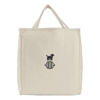 Poodle Dog Graphic with Monogram Embroidered Tote Bag
