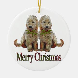 Poodle, Golden Doodle Couple Christmas: Art Christmas Ornament