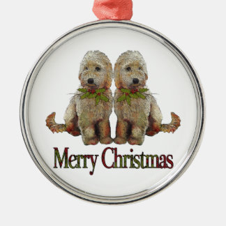 Poodle, Golden Doodle Couple Christmas: Art Silver-Colored Round Decoration