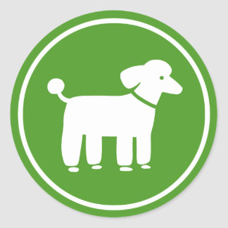 Poodle Graphic (Green) Round Stickers