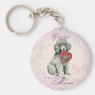 Poodle Heart Mom Basic Round Button Key Ring