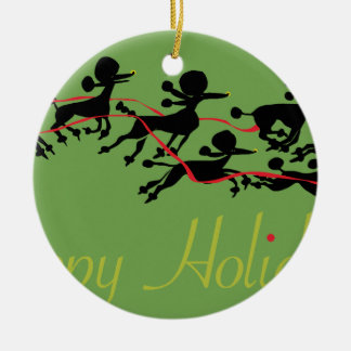 Poodle Holiday card Christmas Ornament