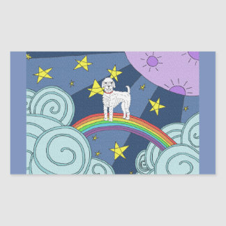 Poodle In Dreamland Rectangular Sticker