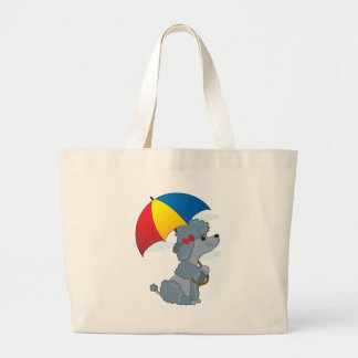 Poodle in Rain Large Tote Bag