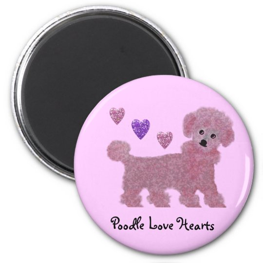 Poodle Love Hearts 6 Cm Round Magnet