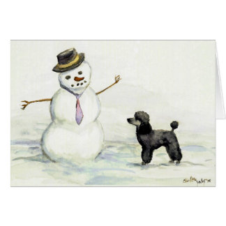 """Poodle Meets Snowman"" Dog Art Card"