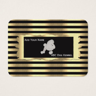 Poodle on Black and Gold Business Card