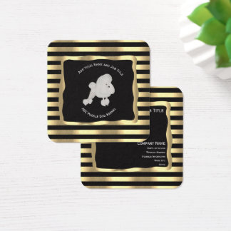 Poodle on Black and Gold Square Business Card