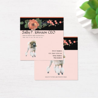 Poodle on Black Melon Floral Square Business Card