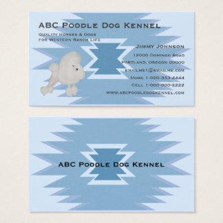Poodle on Blue Indian Design Business Card
