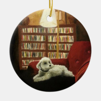 Poodle on Chair Pet Portrait Christmas Ornament
