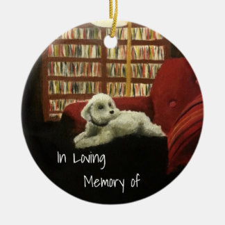 Poodle on Chair Pet Portrait with Text Christmas Ornament