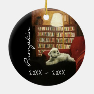 Poodle on Chair Pet Portrait with Text Christmas Ornament