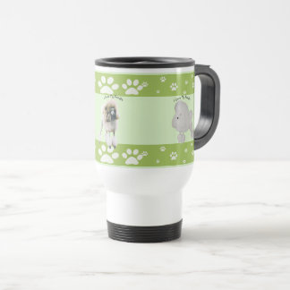 Poodle on Green with White pawprints Travel Mug