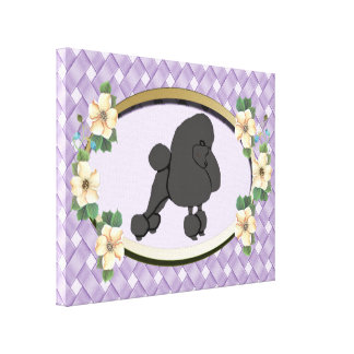 Poodle on Lavender Weave Oval with Flowers Canvas Print