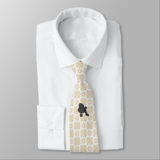 Poodle on Tan Design(printingon both sides) Tie