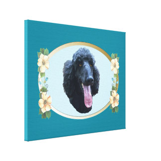 Poodle on Teal Oval and Flowers Canvas Print