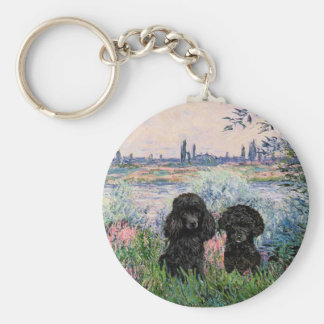 Poodle Pair (black) - By the Seine Basic Round Button Key Ring