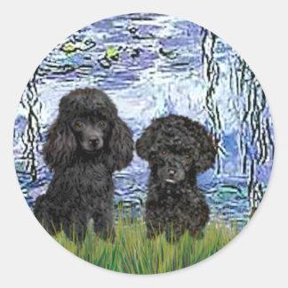 Poodle Pair (black) - Lilies 6 Stickers
