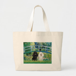 Poodle Pair (BW) - Bridge Large Tote Bag