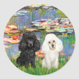 Poodle Pair (BW) - Lilies 2 Round Sticker
