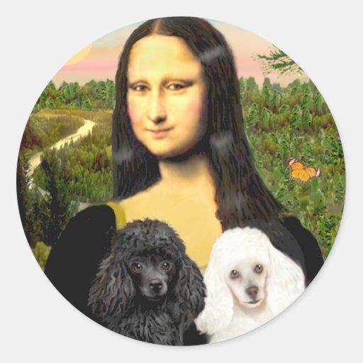 Poodle Pair (BW) - Mona Lisa Round Stickers