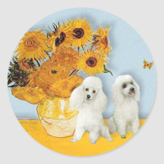 Poodle Pair (W) - Sunflowers Round Sticker
