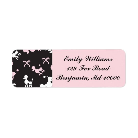 Poodle Paradise Pink and Black Return Address Label