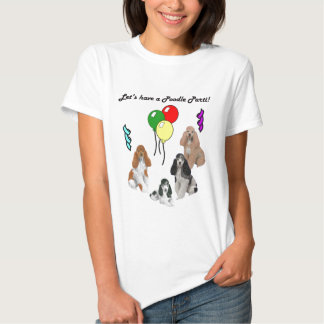 Poodle Parti on Gray T-Shirt