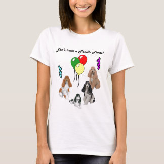 Poodle Parti on Gray T-Shirt