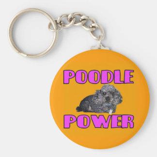 Poodle power Keychain. Basic Round Button Key Ring