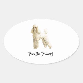 Poodle -- Puppy Clip Oval Sticker