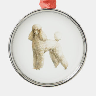 Poodle -- Puppy Clip Silver-Colored Round Decoration