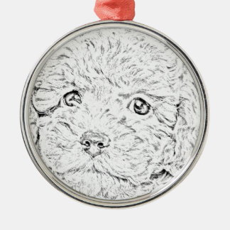 Poodle puppy Silver-Colored round decoration