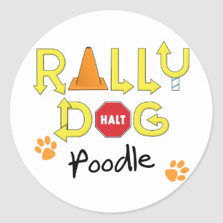 Poodle Rally Dog Round Sticker