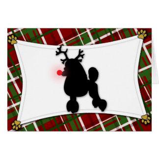 Poodle Reindeer Christmas Card