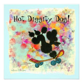 Poodle Skateboard Baby Shower Invitation