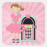 Poodle Skirt Girl, Jukebox Square Sticker