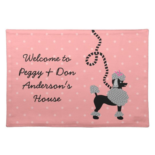Poodle Skirt Retro Pink and Black 50s Pattern Place Mats
