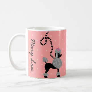 Poodle Skirt Retro Pink and Black 50s Personalized Coffee Mug