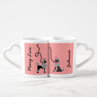 Poodle Skirt Retro Pink and Black 50s Personalized Coffee Mug Set